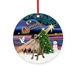 Xmas Magic & Fawn Great Dane Ornament (Round)