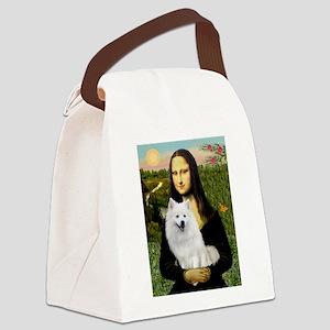 MonaLisa-AmEskimoDog Canvas Lunch Bag
