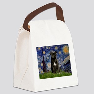Starry-Am.Staffordshire (blk) Canvas Lunch Bag
