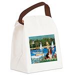 Sailboats & Basset Canvas Lunch Bag