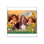 2 Angels & Basset Square Sticker 3