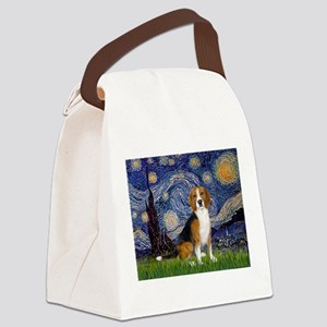 Starry Night & Beagle Canvas Lunch Bag