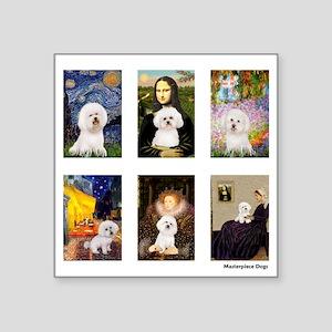 "FamousArt-BichonFrise-CLEAR Square Sticker 3"""