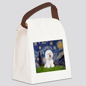 Starry Night Bichon Canvas Lunch Bag