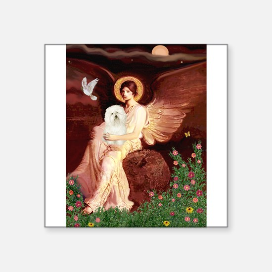 """Seated Angel & Bolognese Square Sticker 3"""" x 3"""""""