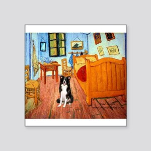 """Room with Border Collie Square Sticker 3"""" x 3"""""""