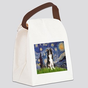 Starry Night Border Collie Canvas Lunch Bag