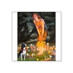 Fairies & Boston Terrier Square Sticker 3