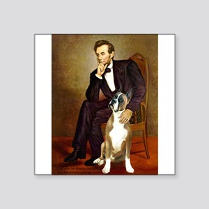 "Lincoln & his Boxer Square Sticker 3"" x 3"""