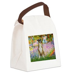 Boxer in Monet's Garden Canvas Lunch Bag