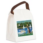 Sailboats & Boxer Canvas Lunch Bag