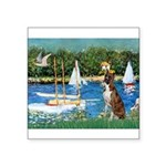 Sailboats & Boxer Square Sticker 3