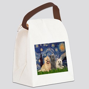 Starry/3 Cairn Terriers Canvas Lunch Bag
