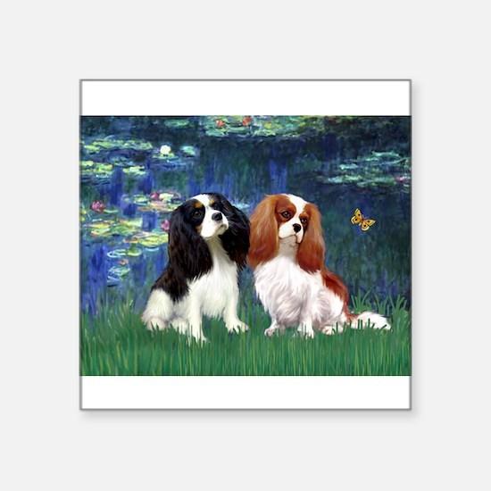 "Lilies (5) & Cavalier Pair Square Sticker 3"" x 3"""