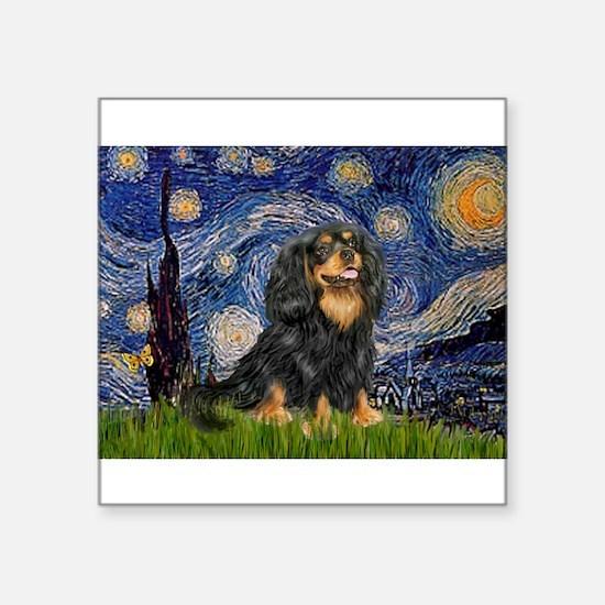 "Starry Night Cavalier Square Sticker 3"" x 3"""