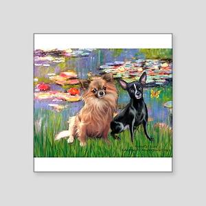 """Lilies (2) & 2 Chihuahuas Square Sticker 3"""" x 3"""""""