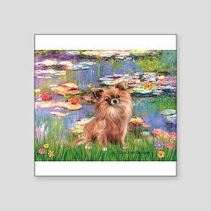 "Lilies / Chihuahua (lh) Square Sticker 3"" x 3"""