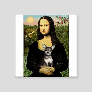 "Mona Lisa / Chihuahua Square Sticker 3"" x 3"""