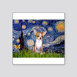 "Starry Night Chihuahua Square Sticker 3"" x 3"""