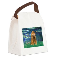 Lilies (5)/Cocker (br) Canvas Lunch Bag
