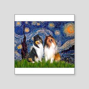 "Starry Night / Collie pair Square Sticker 3"" x 3"""