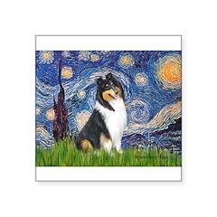 Starry Night / Collie (tri) Square Sticker 3