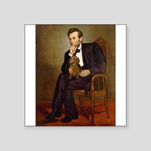 "Lincoln's Dachshund Square Sticker 3"" x 3"""