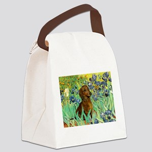 Irises & Dachshund Canvas Lunch Bag