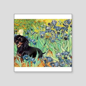 "Irises & Dachshund (BT4) Square Sticker 3"" x 3"""