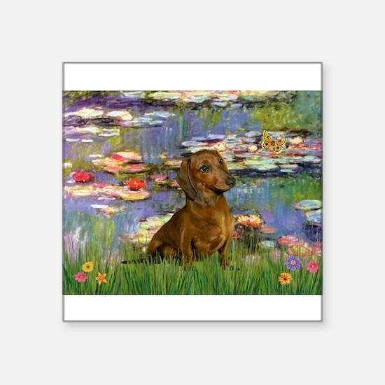 "Lilies & Dachshund Square Sticker 3"" x 3"""