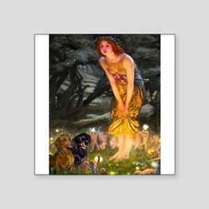 """Fairies / Dachshund Square Sticker 3"""" x 3"""""""