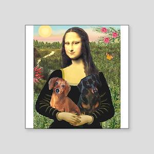 """Mona Lisa's Dachshunds Square Sticker 3"""" x 3"""""""