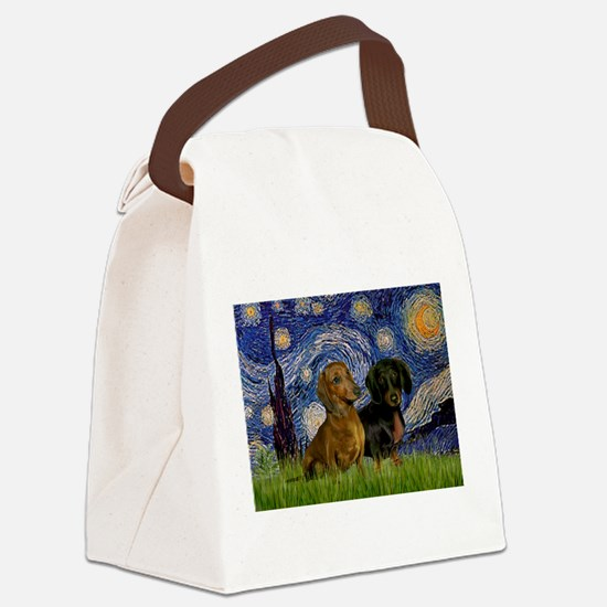 Starry Night Doxie Pair Canvas Lunch Bag