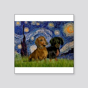 "Starry Night Doxie Pair Square Sticker 3"" x 3"""