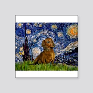 "Starry / Dachshund Square Sticker 3"" x 3"""