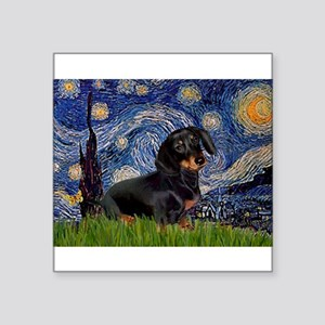 "Starry Night Dachshund Square Sticker 3"" x 3"""