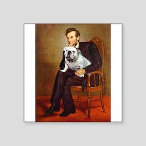 """Lincoln's English Bulldog Square Sticker 3"""" x 3"""""""