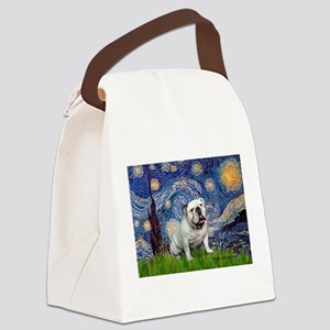 Starry Night English Bulldog Canvas Lunch Bag