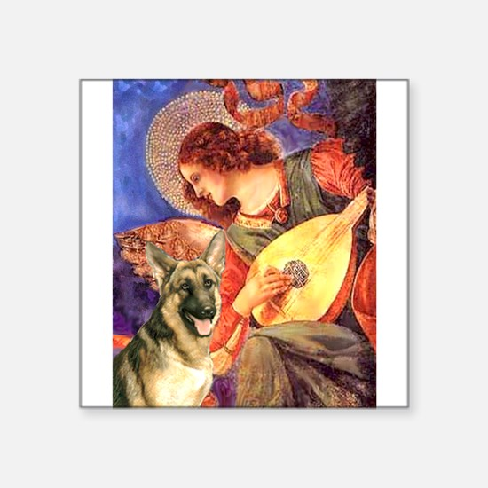 "Mandolin Angel & G-Shep Square Sticker 3"" x 3"""