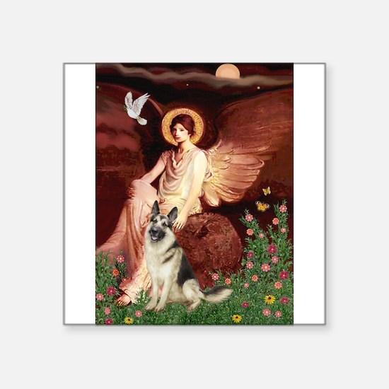 "Seated Angel / G-Shepherd Square Sticker 3"" x 3"""