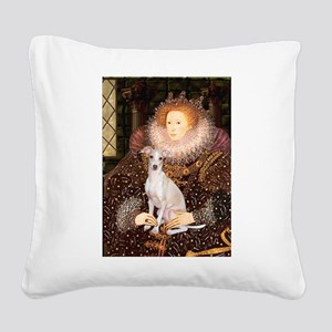 Queen / Italian Greyhound Square Canvas Pillow