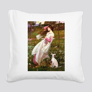 Windflowers / Ital Greyhound Square Canvas Pillow