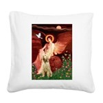 Seated Angel /Italian Spinone Square Canvas Pillow