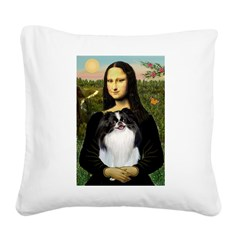 Mona Lisa/Japanese Chin Square Canvas Pillow