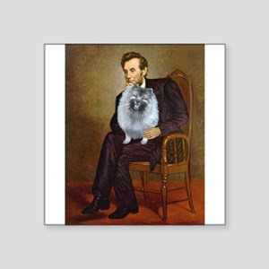 "Lincoln / Keeshond (F) Square Sticker 3"" x 3"""
