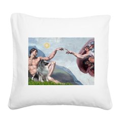 Creation/ Keeshond Square Canvas Pillow