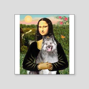 "Mona's Keeshond (E) Square Sticker 3"" x 3"""