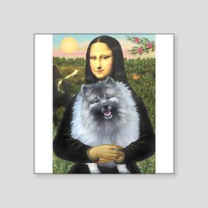 "Mona Lisa / Keeshond (F) Square Sticker 3"" x 3"""