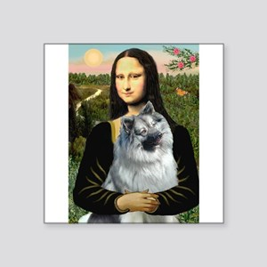 "Mona Lisa/Keeshond Square Sticker 3"" x 3"""