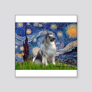 """Starry / Keeshond Square Sticker 3"""" x 3"""""""